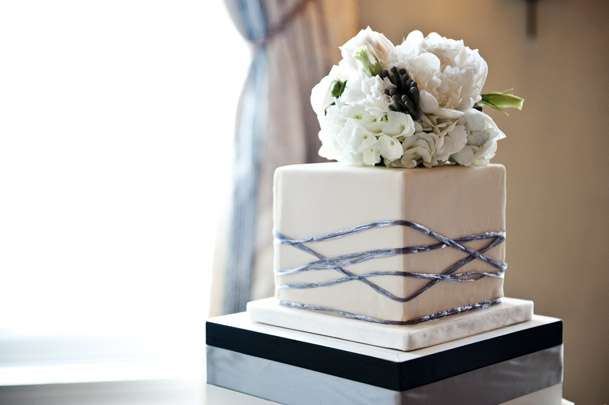 modern square cake topper florals