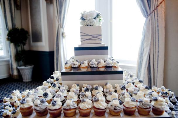 lavender white cupcakes cake modern display