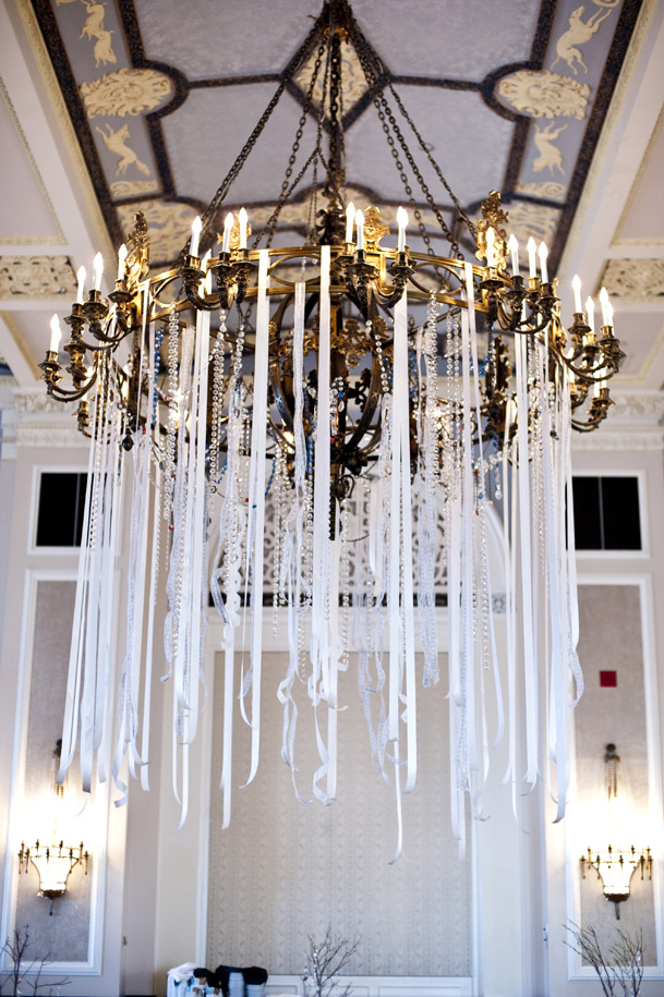hanging ribbon jewels from chandelier