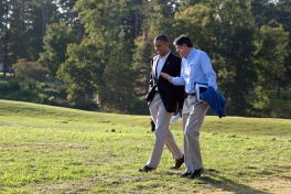 President Barack Obama walks with Chief of Staff Jack Lew during a break from debate preparations in Williamsburg, Va., Oct. 14, 2012. (Official White House Photo by Pete Souza)