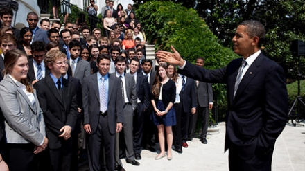 President Obama with Interns