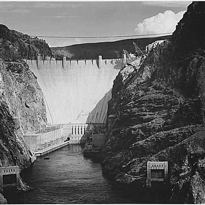 """Photo: On October 9, 1936, the first generator at Boulder Dam began transmitting electricity to Los Angeles. The dam was dedicated by President Roosevelt on September 30, 1935, but it was named after a different President and is now known as the Hoover Dam. You can see hundreds of pictures of the dam being constructed by searching """"Boulder Dam"""" in our Online Public Access database at http://www.archives.gov/research/search/"""