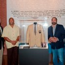 """Photo: The History Center's Andy Masich poses with Steelers greats Dermontti Dawson, Franco Harris and Frenchy Fuqua to celebrate the national debut of """"Gridiron Glory: The Best of the Pro Football Hall of Fame."""""""