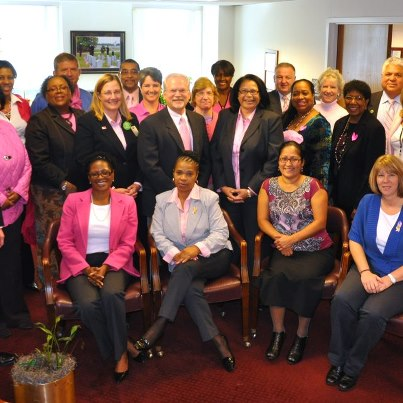 Photo: Got the spirit!  NCA employees at VA Central Office in Washington, D.C., wore pink today, Oct. 16, in support of Breast Cancer Awareness Month. Breast cancer is the most common form of cancer occurring among women in the United States. The annual campaign reminds us to take the steps necessary to detect the disease in its early stages and encourage others to do the same. Today, with early detection, there is a higher probability of full recovery than ever before.