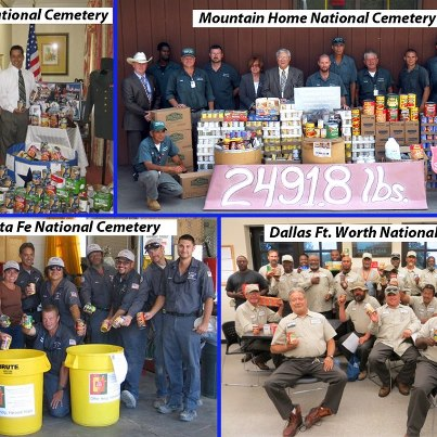 Photo: How many people can 8,120.1 lbs. of food feed?  We don't know exactly, but that's the amount the National Cemetery Administration (NCA) collected for the 2012 National Feds Feed Families Campaign.  Staff efforts resulted in 6,988 lbs. of food being collected from NCA field offices and 1,132.1 lbs. from VA Central Office.  The campaign, now in its fourth year, led by the Chief Human Capital Offices Council (CHCO) and several federal agencies, provides donations to replenish food banks across the Nation.