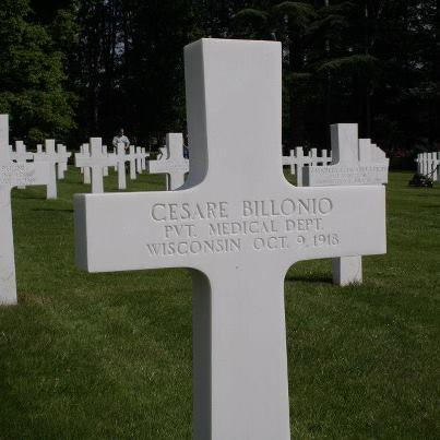 Photo: Today, we remember Cesare Billonio.  Private, The U.S. Army Medical Department   Entered the Service from: Wisconsin Died: October 9, 1918 Buried: Plot D, Row 31, Grave 25 Oise-Aisne American Cemetery Fere-en-Tardenois, France