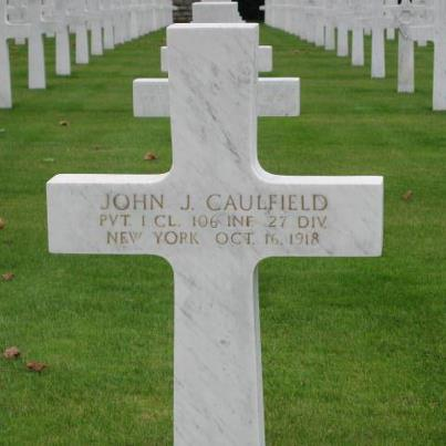 Photo: Today, we remember John J. Caulfield.  Private 1st Class, The U.S. Army 106th Infantry Regiment, 27th Division   Entered the Service from: New York Died: October 16, 1918 Buried: Plot C, Row 3, Grave 8 Somme American Cemetery Bony, France
