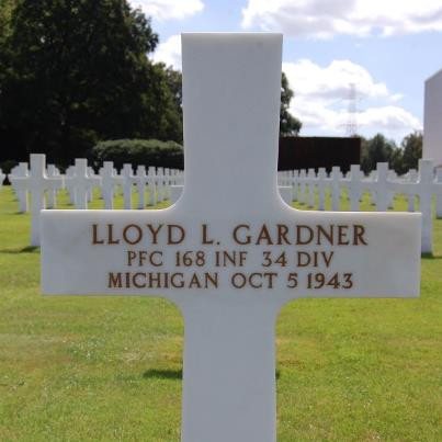 Photo: Today, we remember Lloyd L. Gardner.  Private First Class, U.S. Army Service # 36154224 168th Infantry Regiment, 34th Infantry Division   Entered the Service from: Michigan Died: October 5, 1943 Buried: Plot B, Row 26, Grave 13 Ardennes American Cemetery Neupre, Belgium