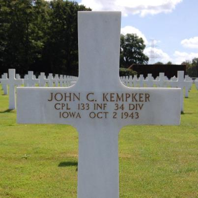 Photo: Today, we remember John C. Kempker.  Corporal, The U.S. Army Service # 20703174 133rd Infantry Regiment, 34th Infantry Division   Entered the Service from: Iowa Died: October 2, 1943 Buried: Plot B, Row 30, Grave 18 Ardennes American Cemetery Neupre, Belgium   Awards: Bronze Star, Purple Heart