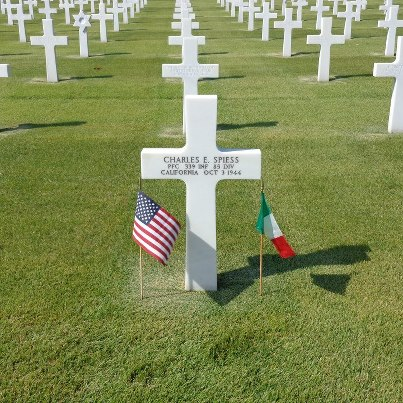 Photo: Today, we remember Charles E. Spiess.  Private First Class, The U.S. Army Service # 39271029 339th Infantry Regiment, 85th Infantry Division   Entered the Service from: California Died: October 3, 1944 Buried: Plot D, Row 5, Grave 12 Florence American Cemetery Florence, Italy   Awards: Purple Heart with Oak Leaf Cluster