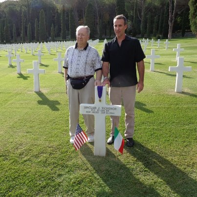 Photo: Two generations of the Tichenor family visited Florence American Cemetery to honor their family member, Pvt. Sinclair J. Tichenor, who gave his life during World War II.