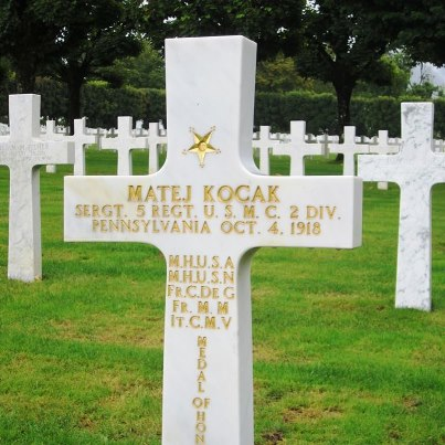 Photo: Remembering World War I: Sgt. Matej Kocak, a 36-year-old immigrant from Egbell, Austria, died on the battlefield on October 4, 1918 during the Meuse-Argonne campaign of World War I. After joining the United States Marine Corps in 1907, he served in various campaigns throughout the world.   Sgt. Kocak distinguished himself in combat near Soissons, France after taking several enemy machine gun positions alone without supporting fire, and eventually resorting to his bayonet. He survived that day and later saw combat in the battle of Saint Mihiel and the Marne.  As a member of the 5th USMC Regiment, 2nd Division, he was killed during the battle for Blanc Mont, near Sommepy, France.