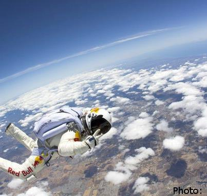 Photo: Yesterday Felix Baumgartner, and a team of scientists, made history by jumping from the highest altitude ever recorded, more than 128,000 feet above the earth! Felix also became the first skydiver to break the speed of sound!   Anything is possible when we work together! What incredible things have you accomplished?