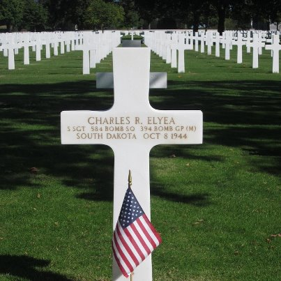 Photo: Today, we remember Charles R. Elyea.  Staff Sergeant, U.S. Army Air Forces Service # 37550129 584th Bomber Squadron, 394th Bomber Group, Medium   Entered the Service from: South Dakota Died: October 8, 1944 Buried: Plot P, Row 2, Grave 4 Brittany American Cemetery St. James, France   Awards: Air Medal with 2 Oak Leaf Clusters