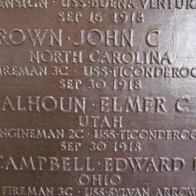 Photo: Today, we remember John C. Brown.  Tablets of the Missing at Suresnes American Cemetery Fireman, Third Class, U.S. Navy USS Ticonderoga   Entered the Service from: North Carolina Died: September 30, 1918 Missing in Action or Buried at Sea Suresnes, France