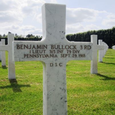 Photo: Remembering World War I: 1st Lt. Benjamin Bullock served with the 3rd Battalion Adjutant, 315th Regiment during the first phase of the Meuse-Argonne campaign of World War I. His battalion pushed north of Montfaucon and Nantillois towards the Bois Ogon. During this fighting he assisted the wounded under direct, enemy, machine-gun fire. After eliminating an enemy sniper in the woods, he died on September 29, 1918 from artillery fire while carrying this message to the regimental command post.