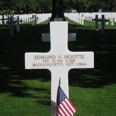 Photo: Today, we remember Edmund V. Houtte.  Private First Class, The U.S. Army Service # 31256337 15th Infantry Regiment, 3rd Infantry Division   Entered the Service from: Massachusetts Died: October 1, 1944 Buried at: Plot P, Row 2, Grave 20 Brittany American Cemetery St. James, France   Awards: Purple Heart
