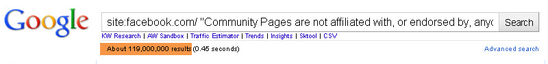 Site Query Equals 119 000 000 Results