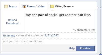 create Facebook offers