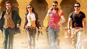 Saif (first from right) dons a different look in his latest release Tashan