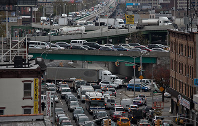 The view from Third Avenue in Brooklyn toward the Brooklyn-Queens Expressway on Wednesday morning. With most mass transit out of service, many commuters had no choice but to drive.