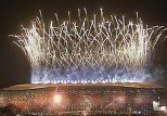 The skies  alight with fireworks as Spain wins world cup
