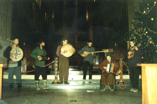 Dongas playing in Truro Cathedral, December 1998