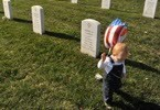 ARLINGTON, VA- NOVEMBER 11: Aksel Nordin, 1, of Alexandria, VA walks near the grave of his godfather, Daniel Lee Zerbe of the U.S. Air Force at Arlington National Cemetery on Sunday November 11, 2012 in Arlington, VA. Aksel's father, Trevor Nordin served with Daniel. President Barack Obama visited Arlington National Cemetery on Sunday in honor of Veterans Day. (Photo by Matt McClain for The Washington Post)