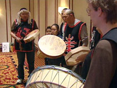 A traditional First Nations dance is performed during the Kwaday Dan Ts'inchi symposium in Victoria.