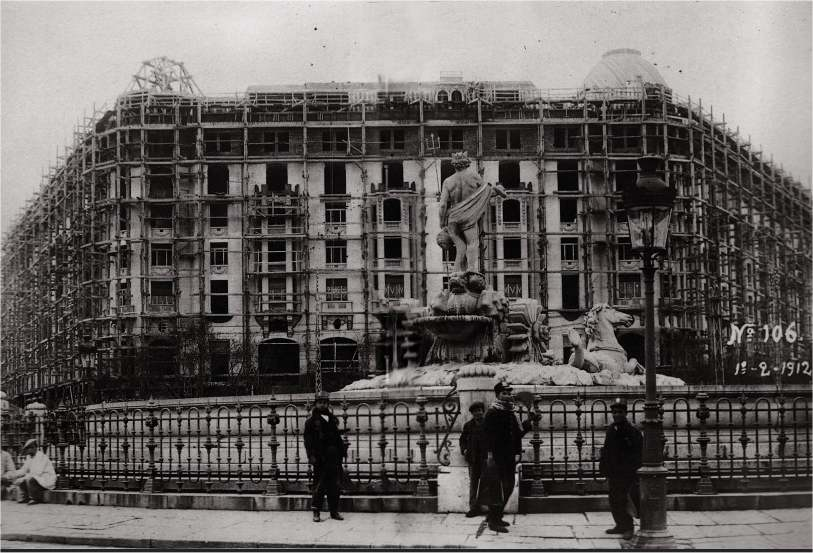 The Palace Hotel under construction in 1912.