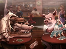 Huff and Puff Picture  (2d, characters, wolf, pig, bar, cards, fairy tale, pub, cartoon)