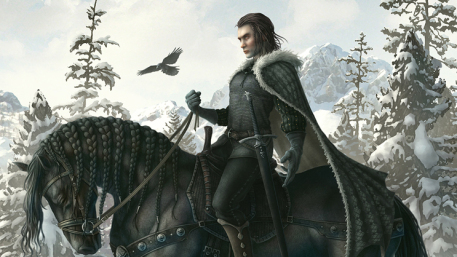 Game of Thrones Cover Picture  (2d, fantasy, horse, warrior, wolf)