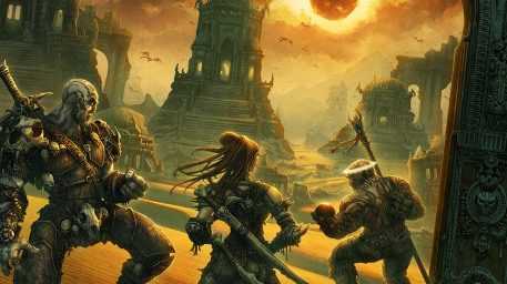 Dark Sun Dwellers Picture  (2d, fantasy, sun, warriors, landscape)