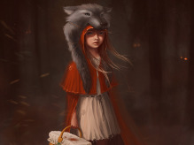 Red Riding Hood Picture  (2d, fantasy, character, wolf, red riding hood, fair tale)
