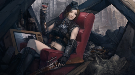 The Last Piece of Silver Picture  (2d, sniper, rifle, girl, wolf, cat, steampunk, ruins)