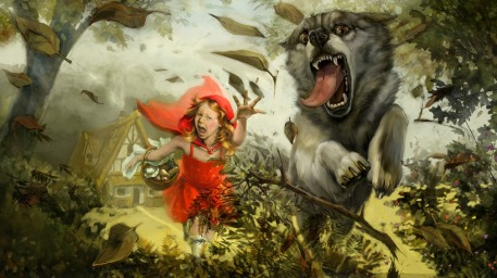 Revenge of the red riding hood Picture  (2d, fantasy, illustration, wolf, red riding hood)