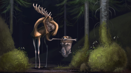 Mooster Picture  (2d, illustration, forest, wolf, moose, humour)