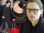 Talk about staying in character! Jared Leto wears nail polish as he jets out to play transexual in Dallas Buyers Club