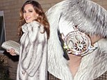 Home James! Kelly Brook channels Lady Penelope and keeps warm in a fabulous furry coat with sparkling watch