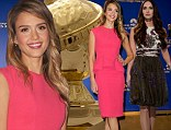 Golden girls! Jessica Alba and Megan Fox glam up at 5am to announce Globes nominations (but sleepy Alba fluffs her lines)