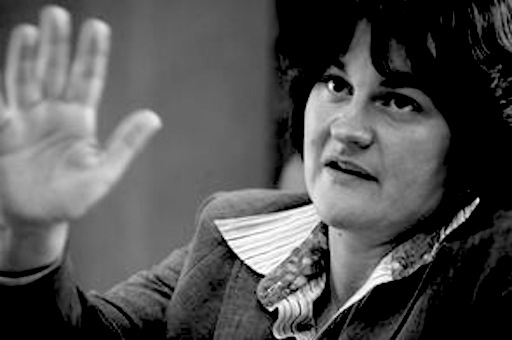 Arlene Foster sports her well-known 'talk to the hand' gesture