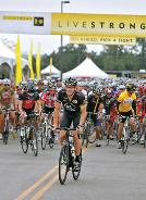 Lance Armstrong at the starting line of a Livestrong Challenge fundraising ride in Texas