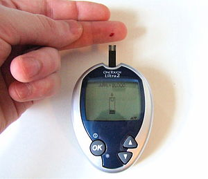 OneTouch Ultra2 is being used by a diabetic pa...