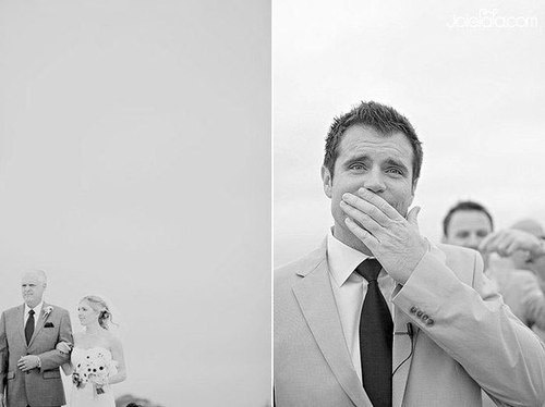 Grooms see their brides for the first time...hanky required. (Photo Album - Imgur)