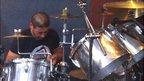 Saleh al-Khuweldi playing the drums