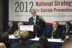 Army Secretary John McHugh speaks during the National Strategy for Suicide Prevention...