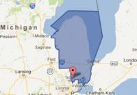 Map of Michigans 10th Congressional District