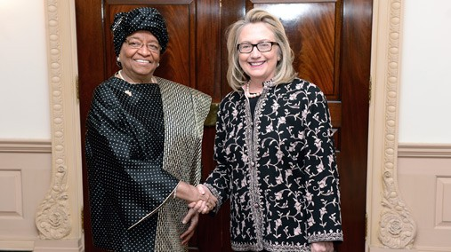 U.S. Secretary of State Hillary Rodham Clinton shakes hands with Her Excellency Ellen Johnson Sirleaf, President of the Republic of Liberia, at the U.S. Department of State in Washington, D.C., January 15, 2013. [State Department photo/ Public Domain]