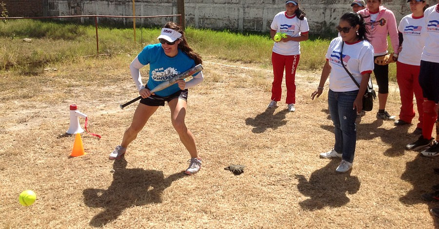 Jessica Mendoza, U.S. Olympian and member of the State Department Council to Empower Women and Girls, leads clinics in Nicaragua as part of the State Department's global efforts to empower women and girls through sports, February 4, 2013. [State Department photo/ Public Domain]