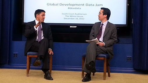 USAID Administrator Rajiv Shah and U.S. Chief Technology Officer Todd Park discuss the impact of open data in the field of global development during DataJam at the White House in Washington, D.C. on December 10, 2012. [USAID Photo/ Used by Permission]
